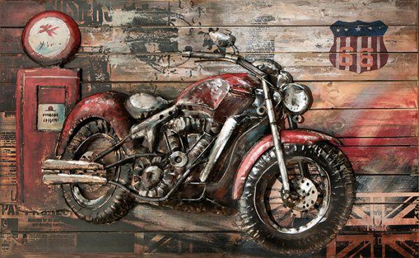 Motorrad 80 x 120 3 cm Holz mit Metall 3 D