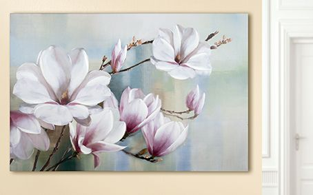 Magnolienblüten 60 x 90 x 3 cm handgemalt