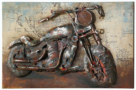 Motorad 40 x 60 2cm Metallbild 3 D Ansicht handarbeit