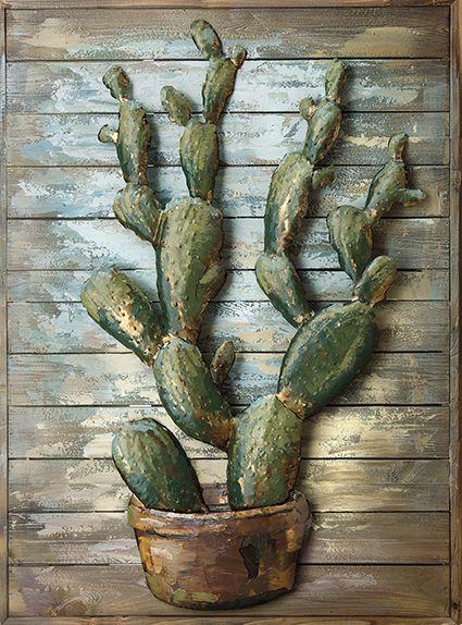 Kaktus 75x 100 x 3 cm Holz auf Metall 3 D handarbeit